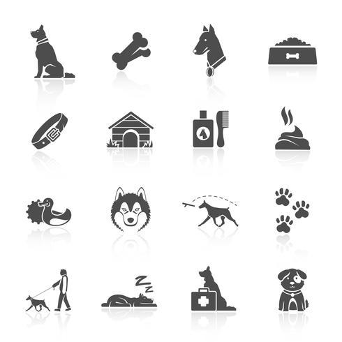 jeu d'icônes de chien vecteur