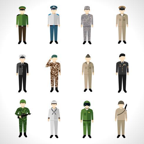 Ensemble d'avatars militaires vecteur