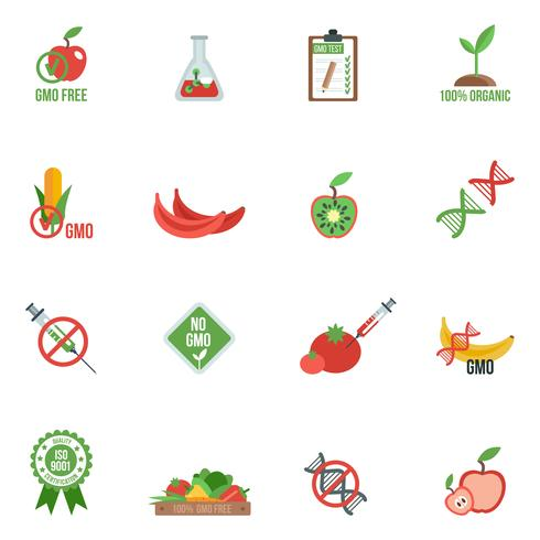Icônes OGM à plat vecteur