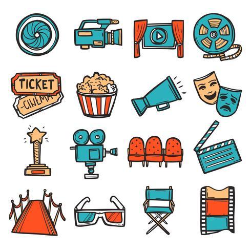 icônes de cinéma mis en couleur vecteur
