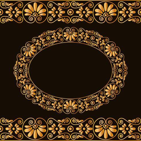 Vide cadre rond et des frontières. Stylisation traditionnelle grecque. En couleur or isolée sur fond sombre. vecteur