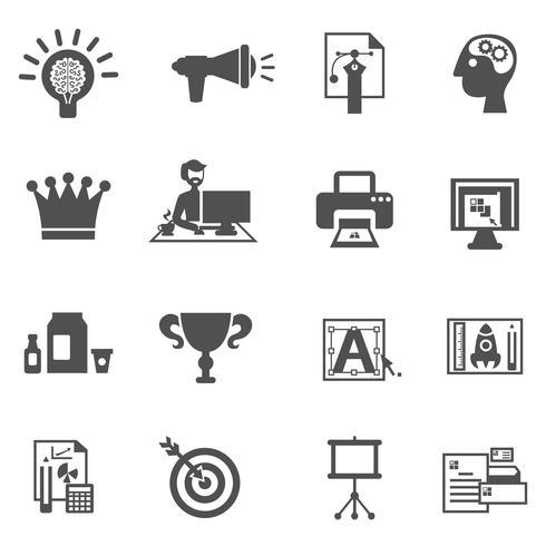 Icônes de marque noir vecteur