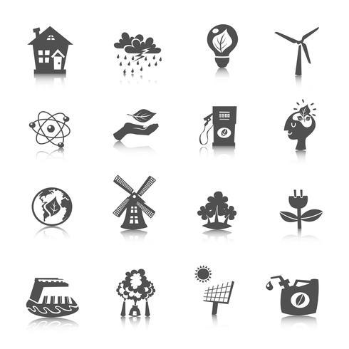 éco énergie icônes définies vecteur