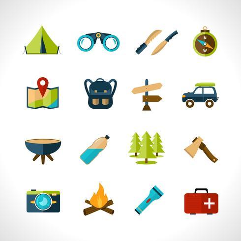 jeu d'icônes de camping vecteur
