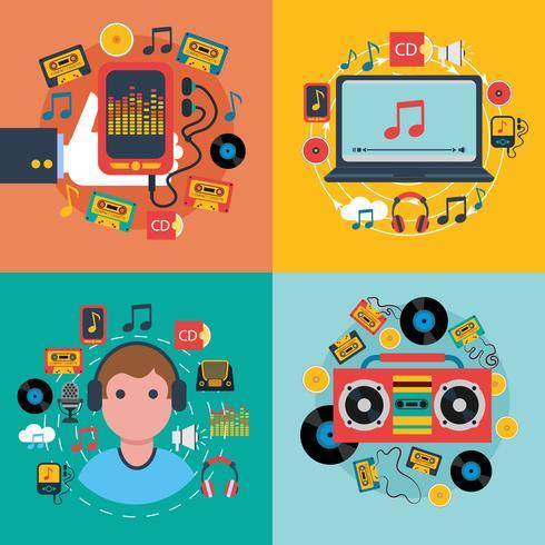 Application musicale consept 4 icônes plates vecteur