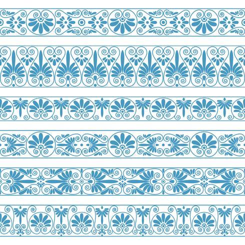 Frontières antiques de couleur bleue sur le fond blanc. vecteur