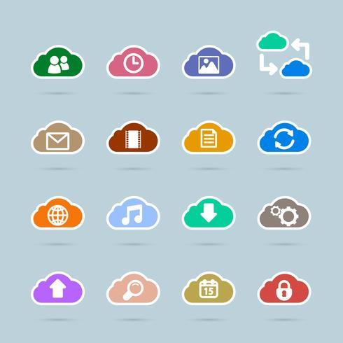 Ensemble d'icônes de technologie cloud, couleur de contraste vecteur