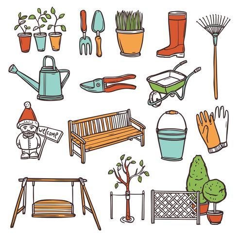 Ensemble d'outils de jardinage vecteur