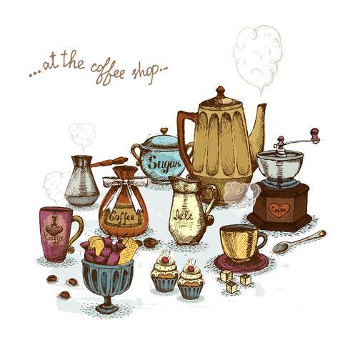 Café, nature morte vecteur