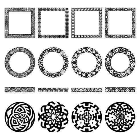 Ensemble de frontières ethniques. Cadres ronds et carrés. vecteur