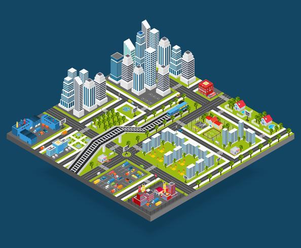 Illustration de la ville isométrique vecteur