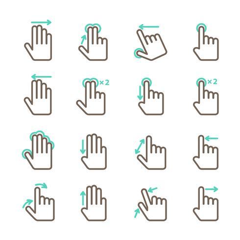 Jeu d'icônes de gestes tactiles à la main vecteur