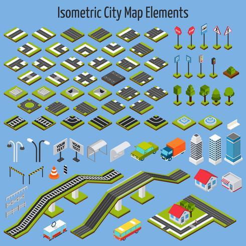 Éléments de carte de ville isométrique vecteur