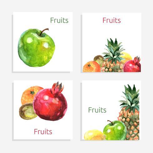 Jeu de cartes de fruits vecteur