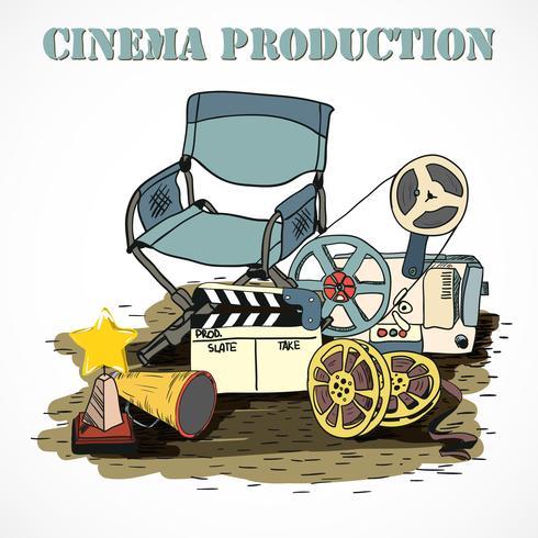 Affiche décorative de production cinématographique vecteur