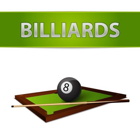 Boule de billard avec bâton sur l'emblème de la table verte vecteur