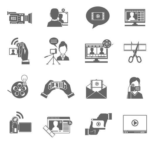 Ensemble d'icônes de blog vidéo vecteur