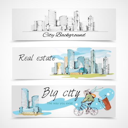 Bannières de la grande ville vecteur