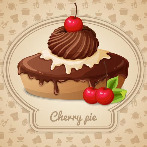 Emblème de tarte aux cerises vecteur