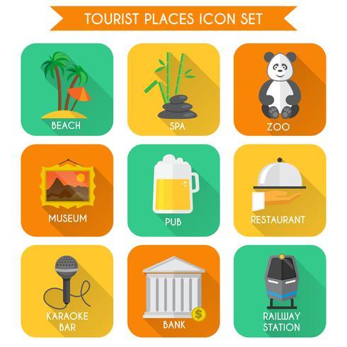 Ensemble d'icônes de lieux touristiques vecteur