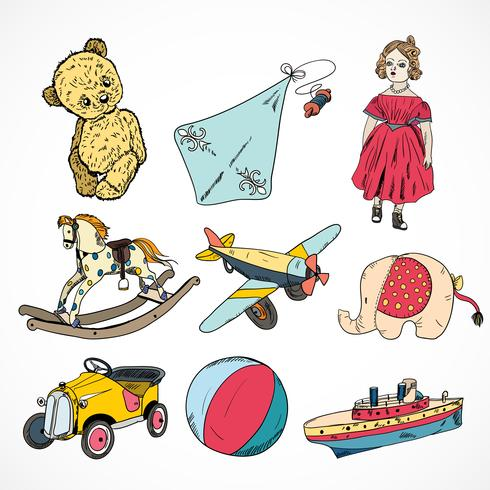 Jeu d'icônes de croquis colorés de jouets vecteur