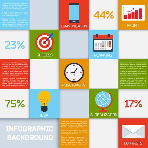 Carrés de couleurs d'affaires infographiques vecteur