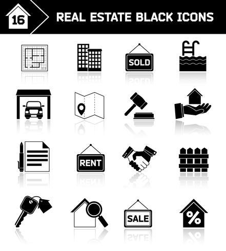Icônes de l'immobilier noir vecteur