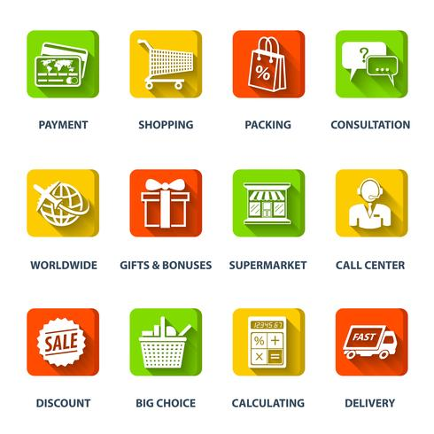 Icônes de commerce électronique vecteur
