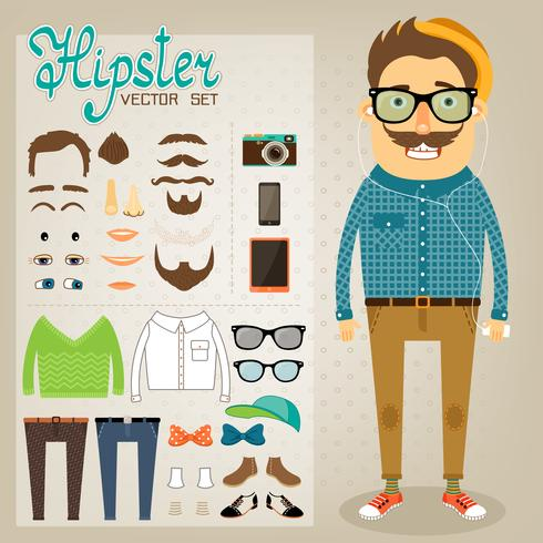 Pack de personnages hipster pour garçon geek vecteur