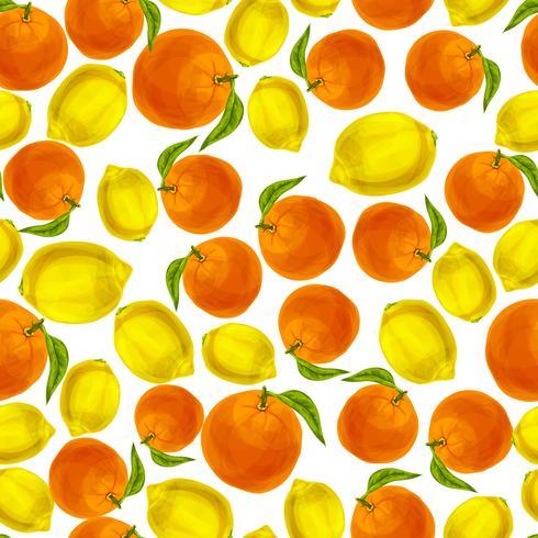 Modèle sans couture orange citron vecteur