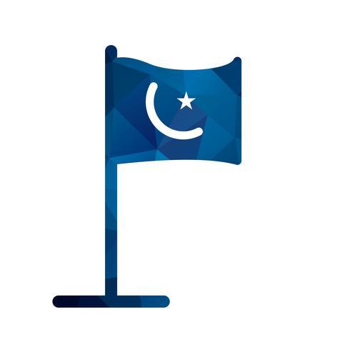 Icône de drapeau islamique de vecteur