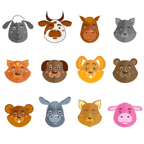 Collection d'animaux sauvages et domestiques vecteur