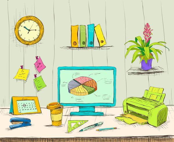 Bureau intérieur de bureau vecteur