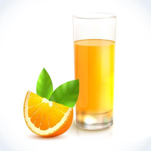 Jus d'orange en verre vecteur