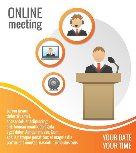 Modèle d'affiche de réunion de gens d'affaires vecteur