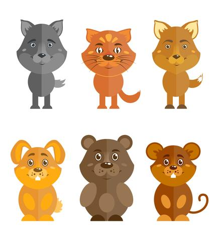 Ensemble d'icônes animaux sauvages et domestiques vecteur