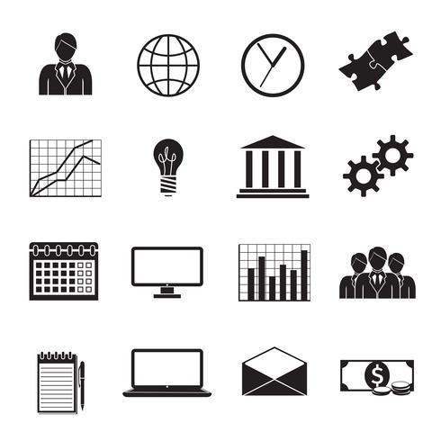 ensemble d'icônes génériques plat d'affaires vecteur
