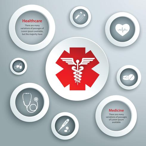 Symboles de papier médical vecteur