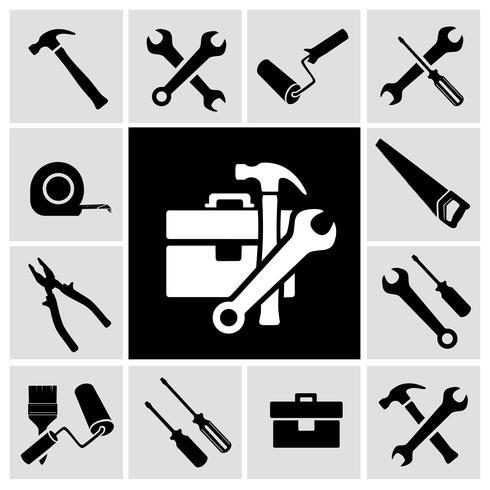 Outils de charpentier ensemble d'icônes noires vecteur