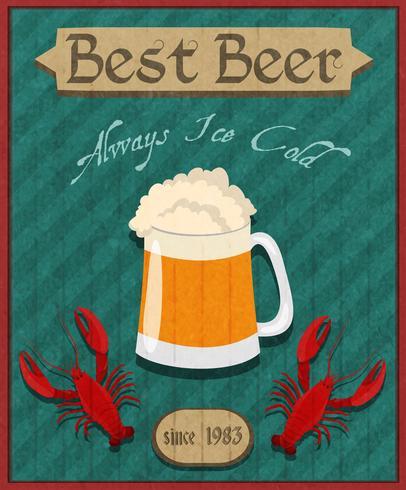 Affiche rétro écrevisses et bière vecteur