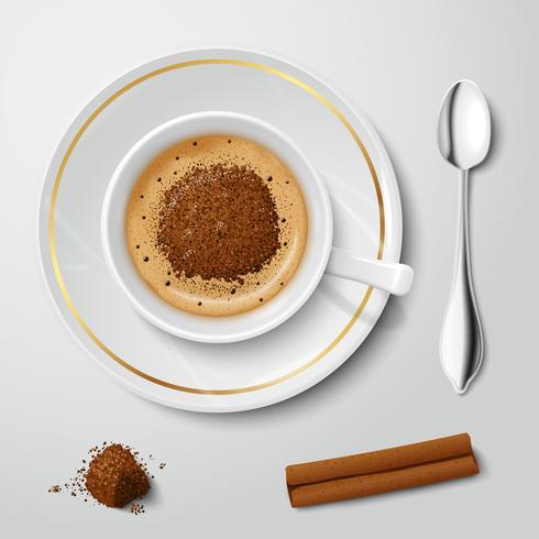 Tasse blanche réaliste avec cappuccino vecteur