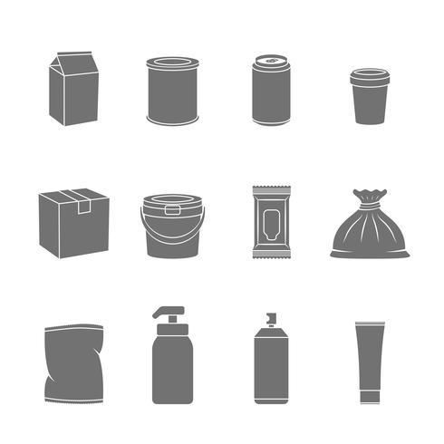 emballer les icônes de conteneur vecteur