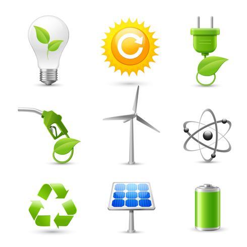 Énergie et écologie réaliste Icons Set vecteur