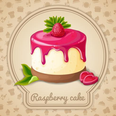 Emblème de gâteau aux framboises vecteur