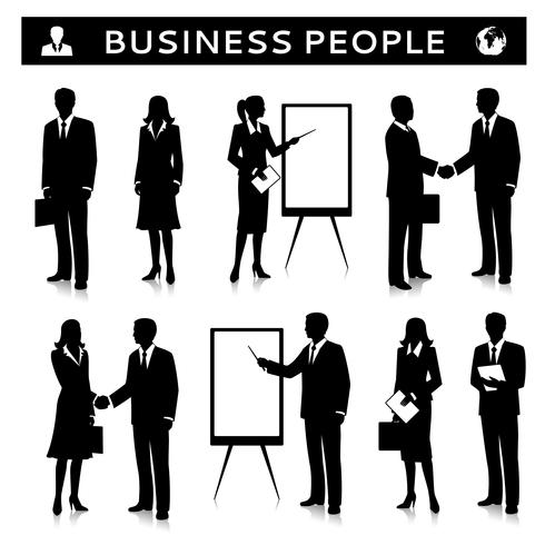 Flipcharts avec des silhouettes de gens d'affaires vecteur