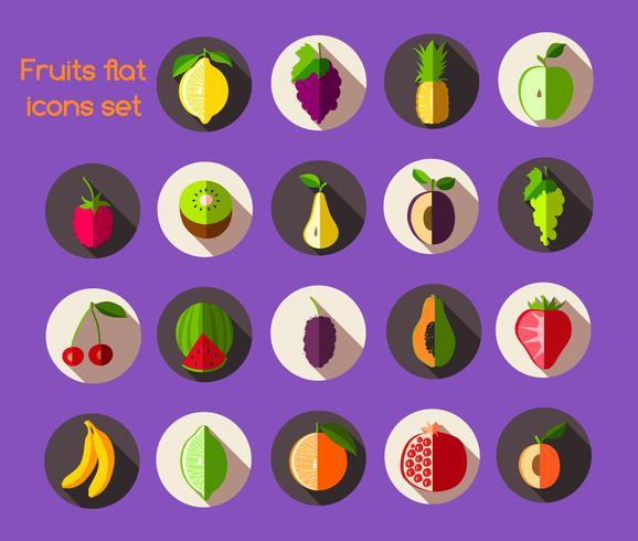 Fruits icônes plates vecteur
