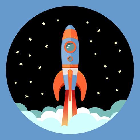 Emblème départ de fusée vecteur