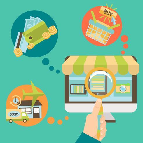 Main d'affaires cherchant une boutique en ligne vecteur