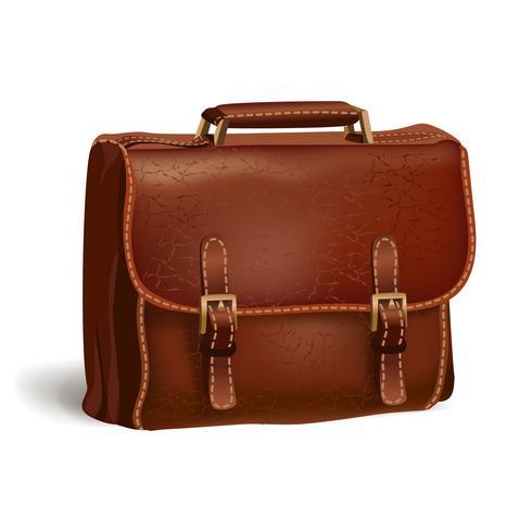 Porte-documents en cuir marron classique vecteur