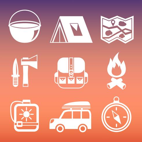 Collection de pictogrammes de camping en plein air vecteur